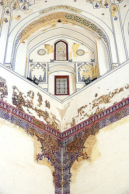 only small patches of original paint survive, but you can also see that the original decoration was much more extensive