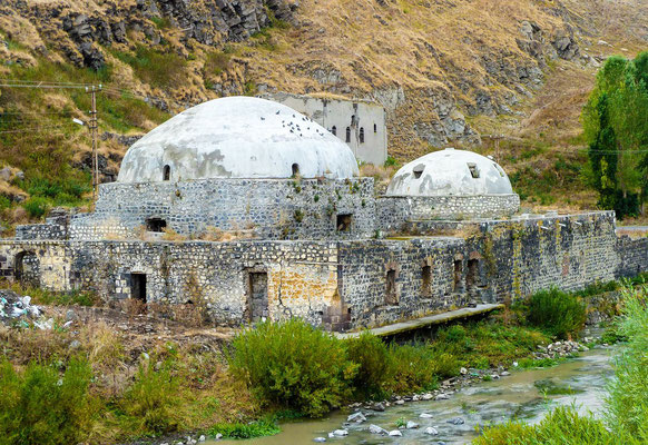 Muradiye Hamman, built in 1774 AD is an Ottoman style bath with two domes, one small, one large