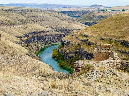 The gorge of Akhurian river.  Armenia is on the right, Turkey, on the left