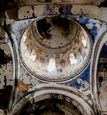 Damaged frescoes on the dome of the church of St Gregory of Tigran Honents