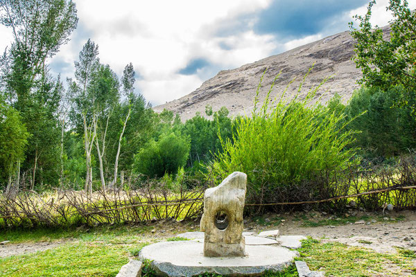 Near the museum is a 'solar calendar', a stone with a hole focused on a western ridge. The hole and a stone on the ridge are exactly aligned with the setting sun during Novruz (21st March)