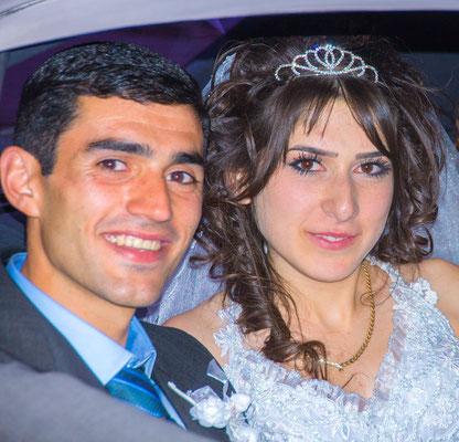Wedding couple, Geghard monastery, Armenia