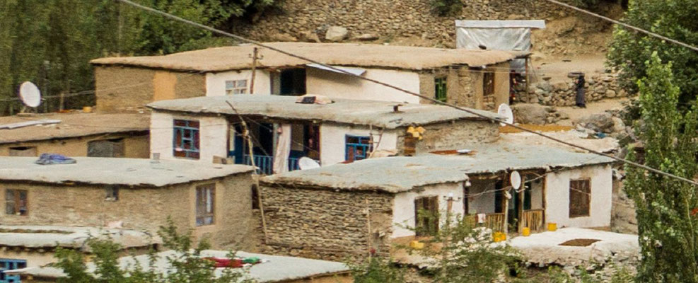 Nested houses, each with satellite dish
