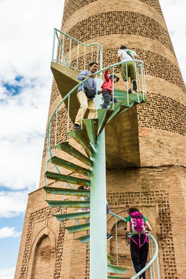 Burana tower - an external staircase and steep, winding stairway inside the tower enables visitors to climb to the top