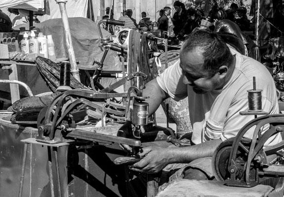Bazaar of Khiva, Uzbekistan, shoemaker