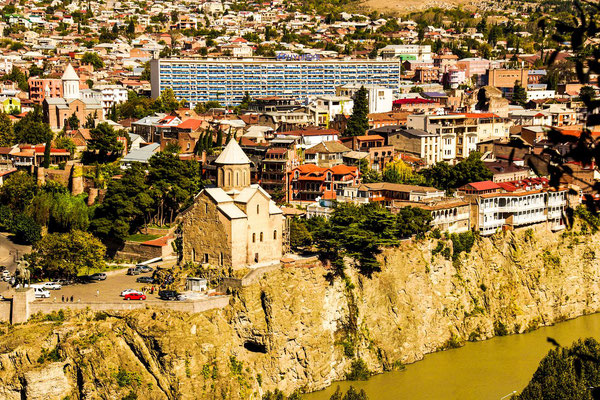 The 13th-century Metekhi Church looms over the Kura river in one of the oldest parts of Tbilisi