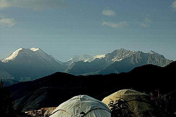 daybreak behind the Tien-Shan mountain ridge