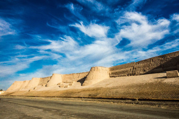 Khiva's walls are made of clay bricks and range from 8 to 10 meters high, 6 to 8 meters wide