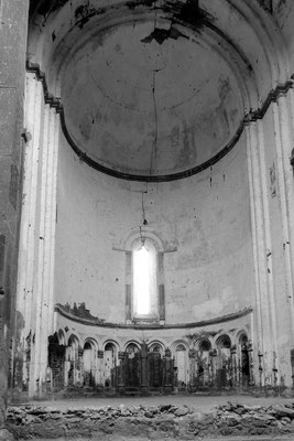 Inside the Cathedral of Ani. Construction of the structure began in 989, completed in either 1001 or 1010. Designed as a domed cruciform church, both the dome and the drum supporting it collapsed in an earthquake in 1319