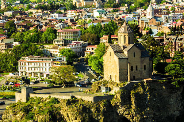 Metekhi Church, and the statue of King Vakhtang Gorgasali