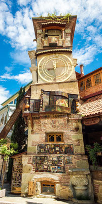 Rezo Gabriadze´s old puppet theater, witch has been updated with a new clock tower