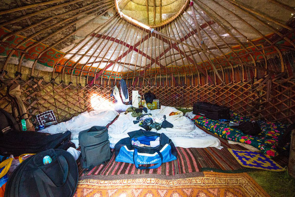 the cozy interior of our yurt