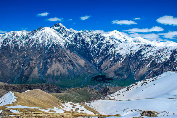 An impressive panorama of the Caucasian mountains