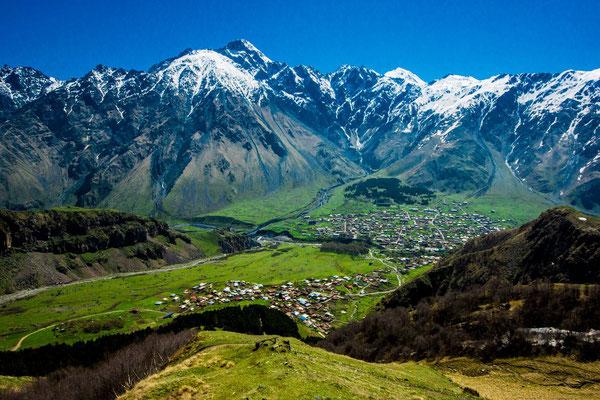 Stepantsminda (also called Kazbegi) - In the background the mountain Kuro (4071m)
