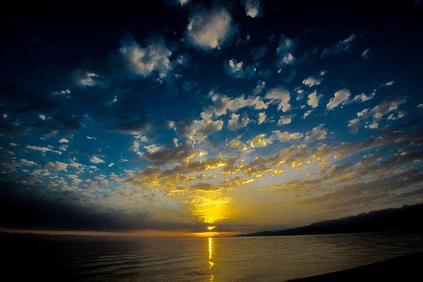 lake, sun, sky