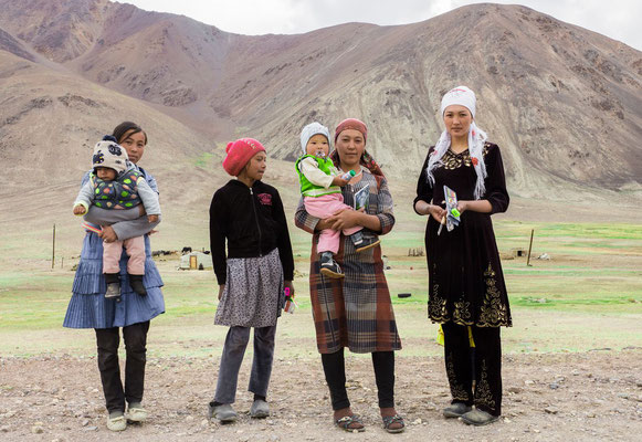 Family on the Pamir Highway  near Murghab