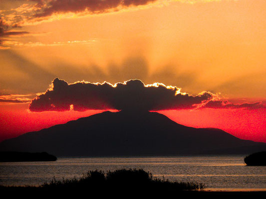 Sunset over the lake Van