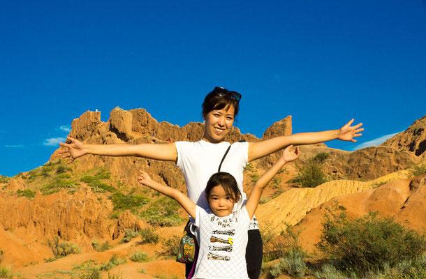"""Zalina Kasymova and her daughter Akula at the """"Fairy Tale"""" Canyon"""