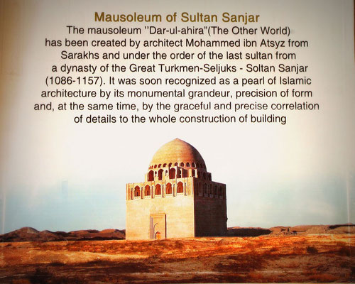 12th Century Mausoleum of Sultan Sanjar was spared by the Mongols in the tradition of leaving the tallest monument standing