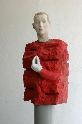 o.T. ( Stop), 2003 Olivindiabas,Thüster Kalkstein, Beton, farbig gefasst,84 (174)x42x22 cm