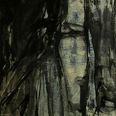 Schweigeminute (Tusche und Acryl, 18 x 18 cm)