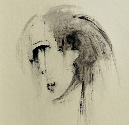 ohne Titel (getöntes Papier, mit Passepartout ca. 12 x 12 cm)