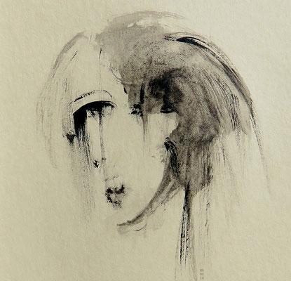 vertieft (getöntes Papier, mit Passepartout ca. 12 x 12 cm)