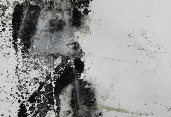 Mädchen im Wintersturm (Ausschnitt aus 20 x 20 cm)