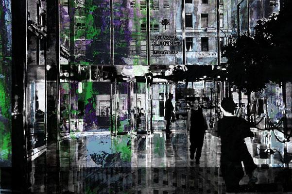 Bildinhalte - zwei Analogfotos NYC und Acrylbild