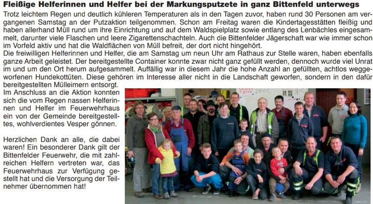 Bei der Gemarkungsputzete in Bittenfeld mit den ehrenamtlichen Helferinnen und Helfern (ganz rechts: Simone Haist, Ortsvorsteherin)