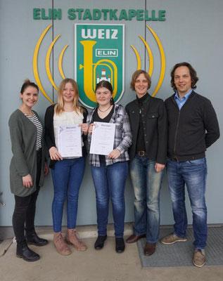 v.l.n.r.: Jugendref. Lucia Stockner, Sarah Griebichler, Katharina Schlemmer, interim. Kpm. Verena Paul und Peter Derler