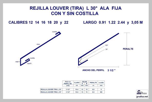"""REJILLA LOUVER (TIRA) L a 30° Para PERFIL de 3 1/2"""" CON Y SIN COSTILLA"""