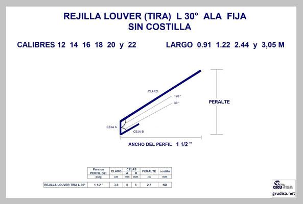 """REJILLA LOUVER (TIRA) L a 30° Para PERFIL de 1 1/2"""" SIN COSTILLA"""