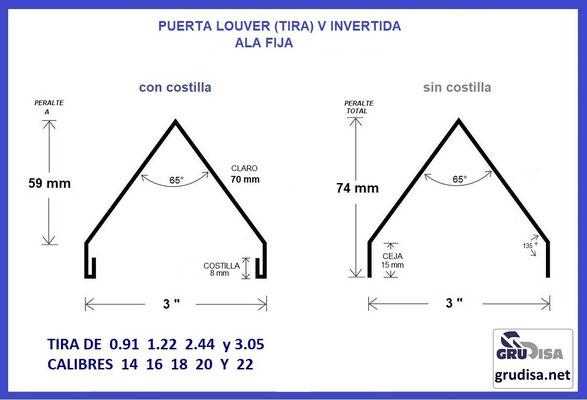 """PUERTA LOUVER (TIRA DE ALA FIJA) V INVERTIDA PARA ARMAR CON PERFILES DE 3"""" CALIBRES 14 16 18 20 y 22"""