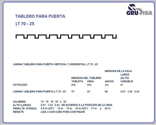 TABLERO PARA PUERTA LT 70 - 25