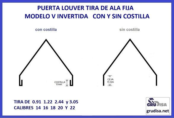 PUERTA LOUVER TIRA DE ALA FIJA MODELO V INVERTIDA CON Y SIN COSTILLA