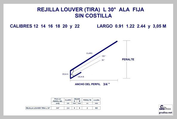 """REJILLA LOUVER (TIRA) L a 30° Para PERFIL de 3/4"""" SIN COSTILLA"""