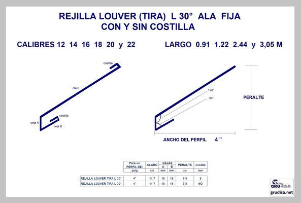 """REJILLA LOUVER (TIRA) L a 30° Para PERFIL de 4"""" CON Y SIN COSTILLA"""
