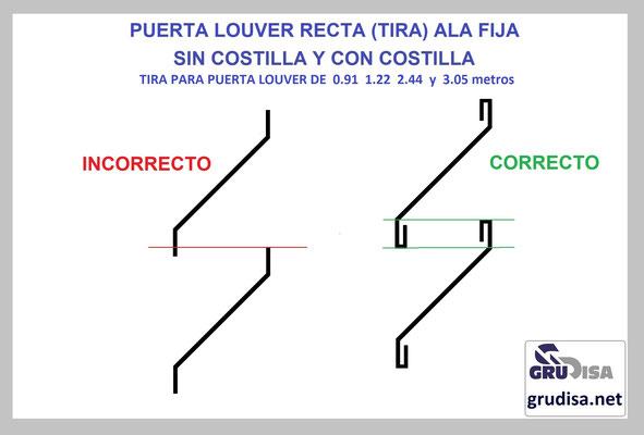 PUERTA LOUVER TIRA DE ALA FIJA MODELO RECTA CON Y SIN COSTILLA