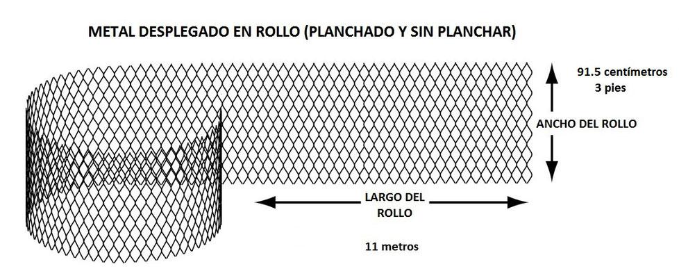 METAL DESPLEGADO EN ROLLO o LÁMINA DESPLEGADA ANCHO ALTO ESTÁNDAR  DEL ROLLO  91.5 cm
