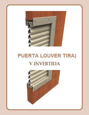 Puerta louver tira v invertida grudisa metal for Puerta tipo louver