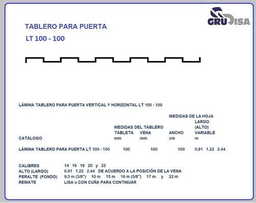 TABLERO PARA PUERTA LT 1000 - 100