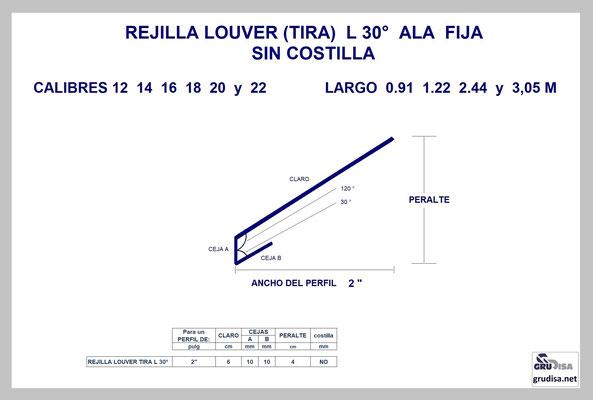 """REJILLA LOUVER (TIRA) L a 30° Para PERFIL de 2"""" SIN COSTILLA"""