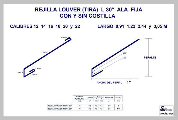 """REJILLA LOUVER (TIRA) L a 30° Para PERFIL de 3"""" CON Y SIN COSTILLA"""