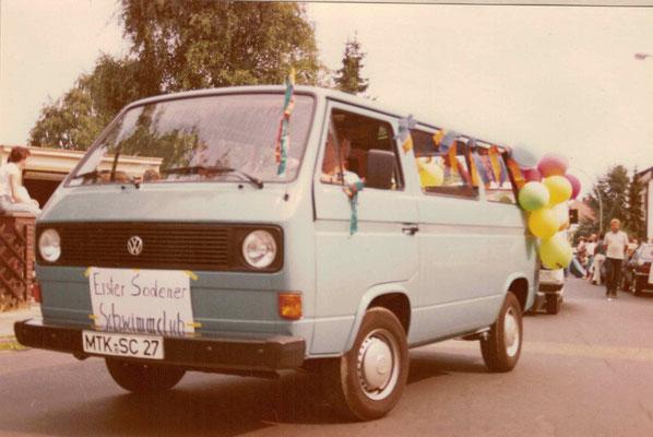 1983 Festumzug 25 Jahre TG Spielmannszug ESSC-Bus (Fahrer Hans Heckert)