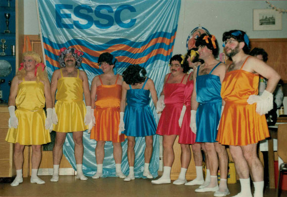 1987 Ramba Zamba Männerballett - Kurt Bender, Helmar Müller, Wolfgang Gäßler, Hans Jörg Simonis, Hans Hermann, Bernd Lenuweit, Karlheinz Eller, Martin Müller (von li.)