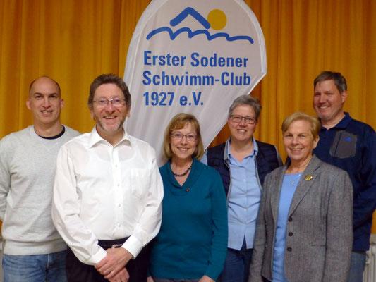 2016 JHV Vorstand - Frank Bender, Christoph Zöller, Renate Kubicek, Barbara Schmunk, Christa Bender, Dirk Müller (von li.)