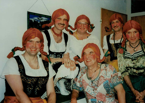 1992 Ramba Zamba Männerballett - Peter Kötting, Hans Jörg Simonis, Wolfgang Gäßler, Alfred Stücker, Karlheinz Eller, Bernd Lenuweit (von li.)