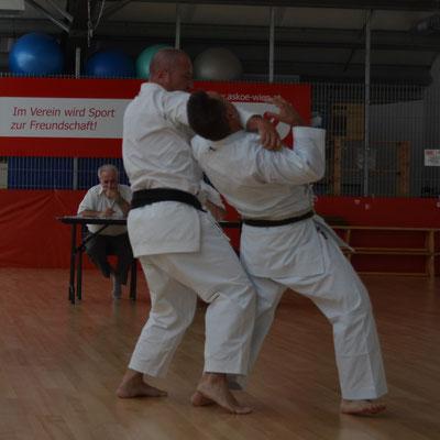 Kampfkunst mit Fegetechniken und Würfen