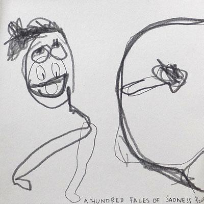 a hundred faces of sadness, 2017, 20 x 20 cm, Graphit auf Papier